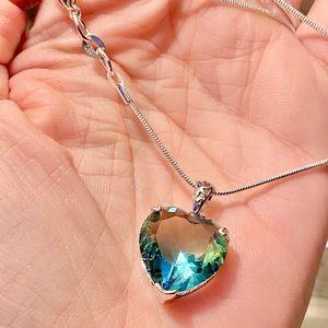 """New""Green/Blue Rainbow Mystic Topaz/925 Necklace"